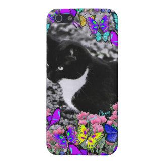 Pecas en mariposas II - gato del smoking iPhone 5 Fundas