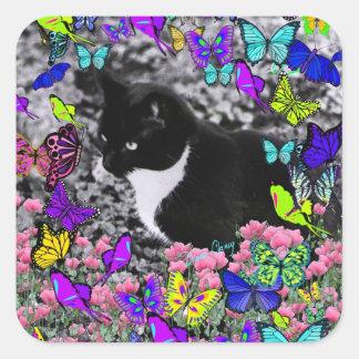 Pecas en mariposas II - gato del smoking Pegatina Cuadrada