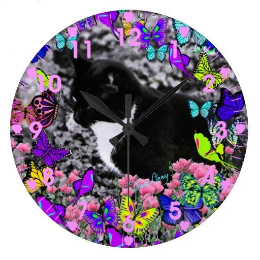 Pecas en mariposas II - reloj del gatito de Tux