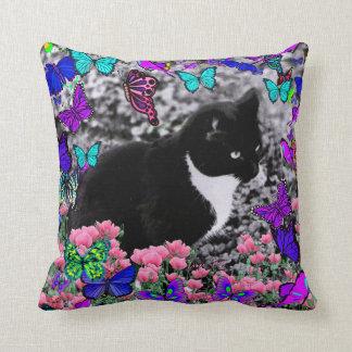 Pecas en mariposas III, gato del gatito de Tux Cojin