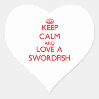 Peces espadas pegatina en forma de corazón