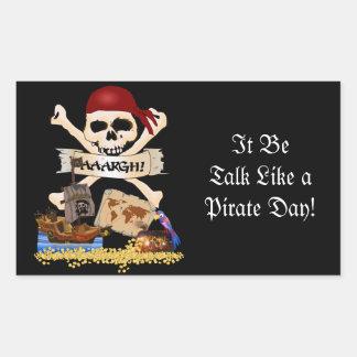 Pecho alegre de Rogelio, del barco pirata y del Pegatina Rectangular
