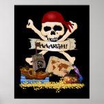 Pecho alegre de Rogelio, del barco pirata y del pi Posters