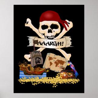 Pecho alegre de Rogelio, del barco pirata y del pi Póster