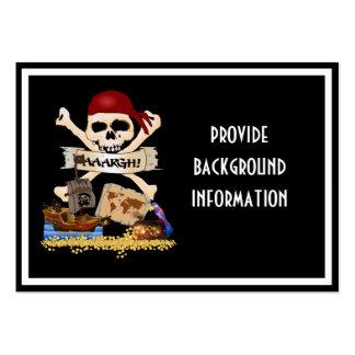 Pecho alegre de Rogelio, del barco pirata y del Tarjetas De Visita Grandes