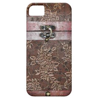 Pecho del vintage del cuero del rosa de damasco iPhone 5 fundas