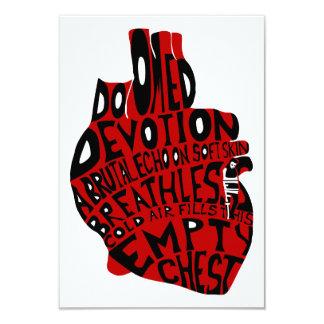 """pecho vacío: corazón anatómico invitación 3.5"""" x 5"""""""