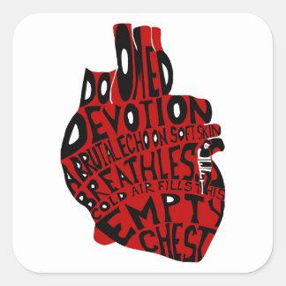 pecho vacío: corazón anatómico pegatina cuadrada