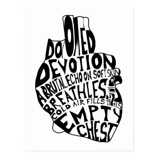 pecho vacío: corazón anatómico tarjetas postales