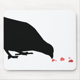 pecking order. blackbird & red hearts. mouse pad