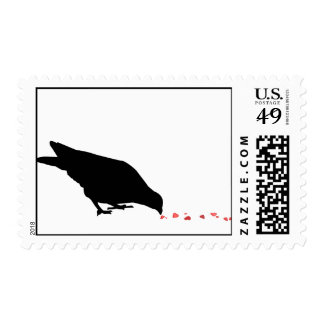 pecking order. blackbird & red hearts. postage