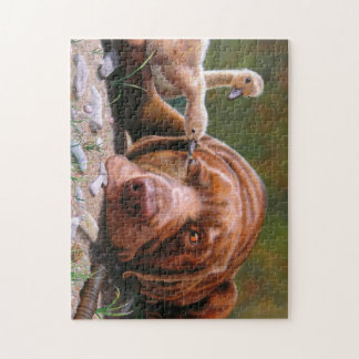 Pecking Order, Chocolate Lab and Goslilngs Jigsaw Puzzle