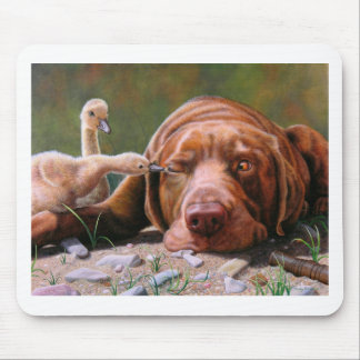 Pecking Order, Chocolate Lab and Goslilngs Mouse Pad