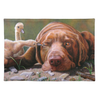 Pecking Order, Chocolate Lab and Goslilngs Placemat