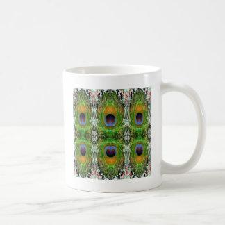 Pecock Feather Pattern - Emerald Green Coffee Mug