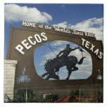 Pecos, Texas sign Large Square Tile