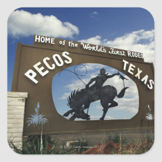 Pecos, Texas sign Square Sticker