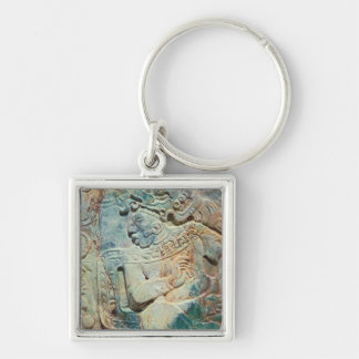 Pectoral of the King and a courtier from Tikal Silver-Colored Square Keychain