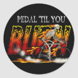 Pedal Burn Cyclists and Bike Riders Gear Round Sticker