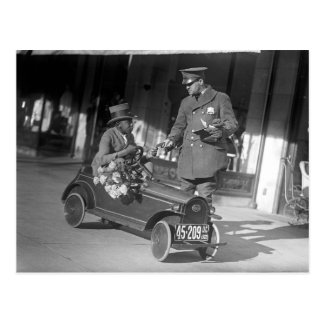 Pedal Car Traffic Stop, 1922 Postcard
