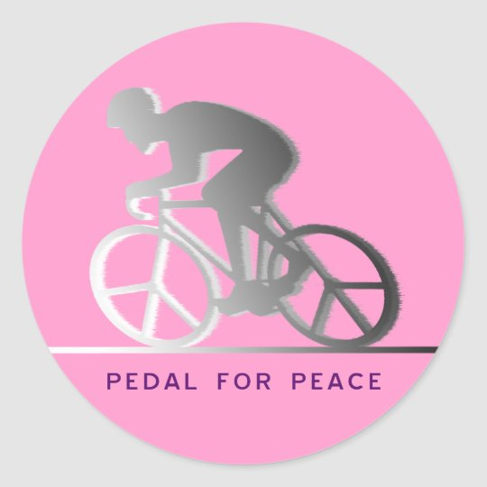 PEDAL FOR PEACE - gray Classic Round Sticker