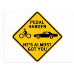 Pedal Harder Highway Sign Post Cards