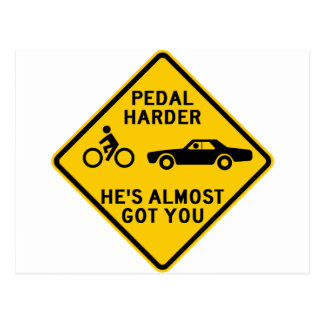 Pedal Harder Highway Sign Post Cards