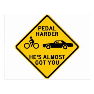 Pedal Harder Highway Sign Postcard