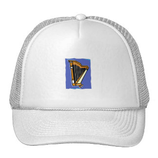 Pedal Harp Abstract Blue Background Hat