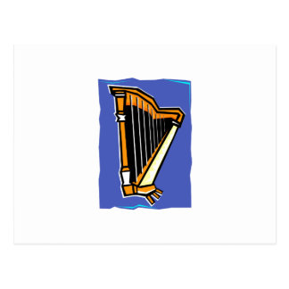Pedal Harp Abstract Blue Background Postcard
