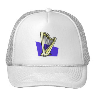 Pedal Harp Blue Box Behind It Graphic Image Mesh Hats