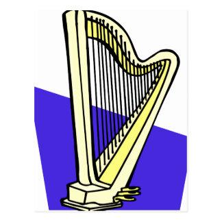 Pedal Harp Blue Box Behind It Graphic Image Postcard