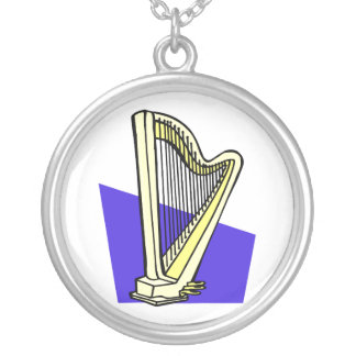 Pedal Harp Blue Box Behind It Graphic Image Silver Plated Necklace