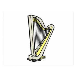 Pedal Harp Blue Tinted Plain Graphic Design Postcard