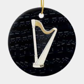Pedal Harp Music Ceramic Ornament