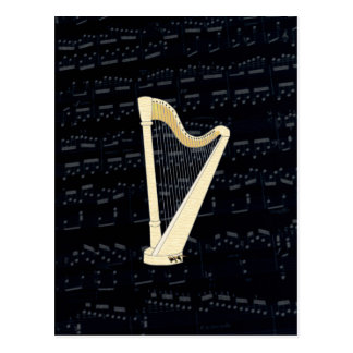 Pedal Harp Music Postcard