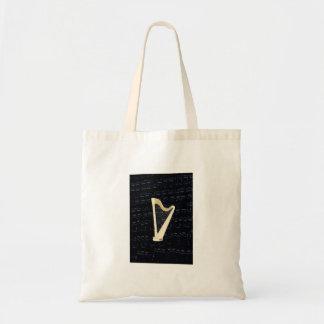 Pedal Harp Music Tote Bag