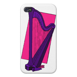 Pedal Harp Purple with Pink Background Covers For iPhone 4