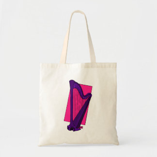 Pedal Harp Purple with Pink Background Tote Bag