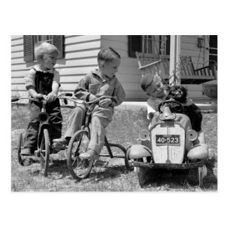 Pedal Power, 1930s Postcard