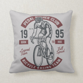 Pedal Pusher Cycling Club | Racing Team Full Speed Throw Pillow