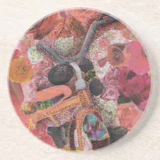 Pedal through Petals Sandstone Coaster