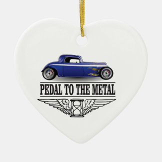 pedal to the metal blue ceramic ornament
