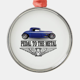 pedal to the metal blue metal ornament
