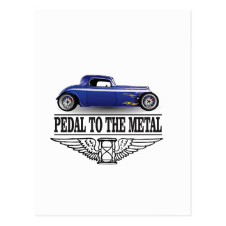pedal to the metal blue postcard