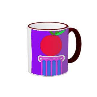 pedastal con la taza de la manzana