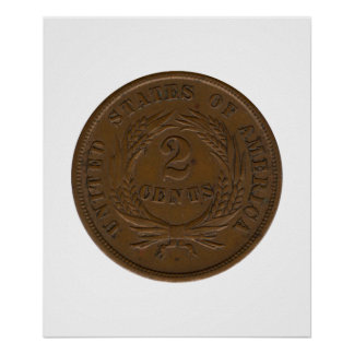 pedazo 1864 2-Cent Póster