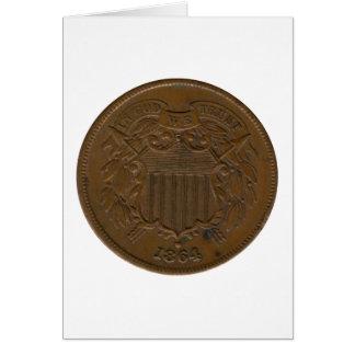 pedazo 1864 2-Cent Tarjetón