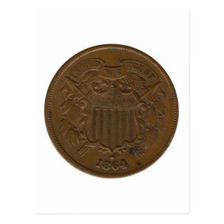 pedazo 1864 2-Cent Postales