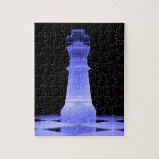 Pedazo azul del rey que brilla intensamente ajedre rompecabezas con fotos